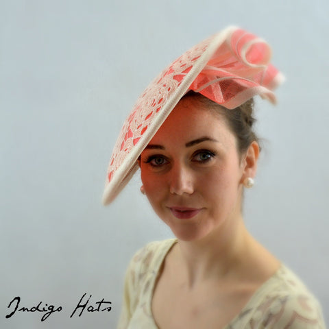 DRAMATIC - Coral Saucer Headpiece