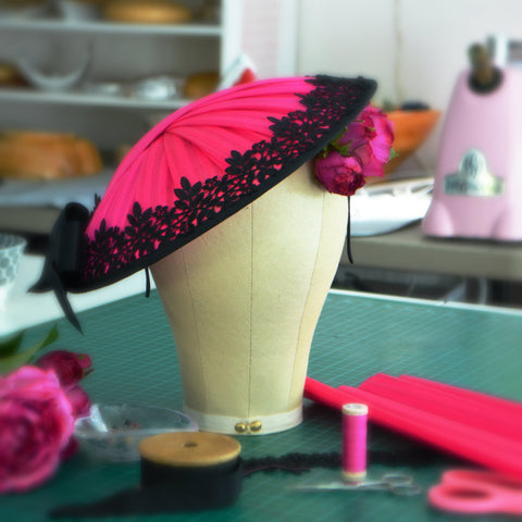VIENNA -  Fuchsia and Black Saucer Hat