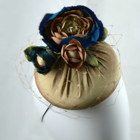DUCHESS -Beige and Blue Silk Pillbox Cocktail Hat