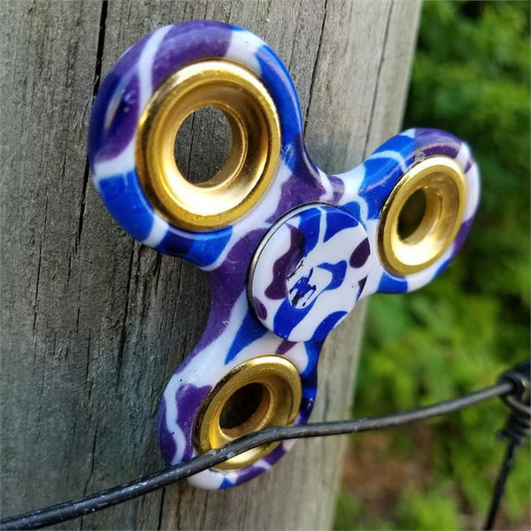 Hand Finger Spinner Purple-Blue Camo Stress Relief Tri Fidget High Speed