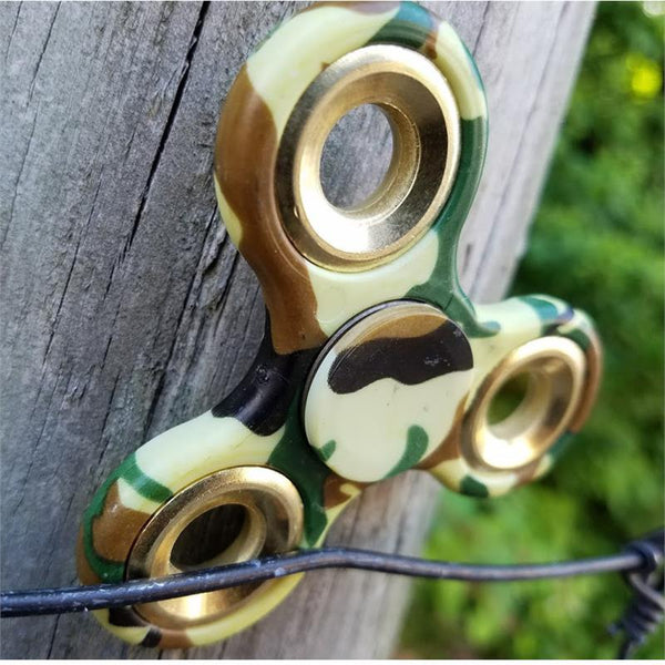 Hand Finger Spinner Green Camo Stress Relief Tri Fidget High Speed