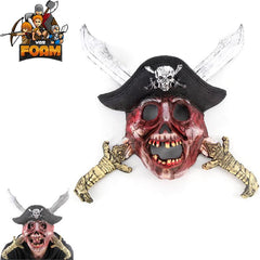 Scary Pirate Skull Crossed Swords Hat Mask For Cosplay Halloween Masquerade