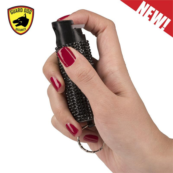 Bling It On Key Ring Self Defense Pepper Spray Black Jeweled Cary Case