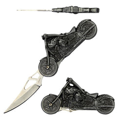 Grim Reaper Motorcycle Fantasy Folding Knife 8 Inch Overall
