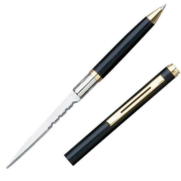 Elegant Ink Pen Knife with Partially Serrated Edge Black