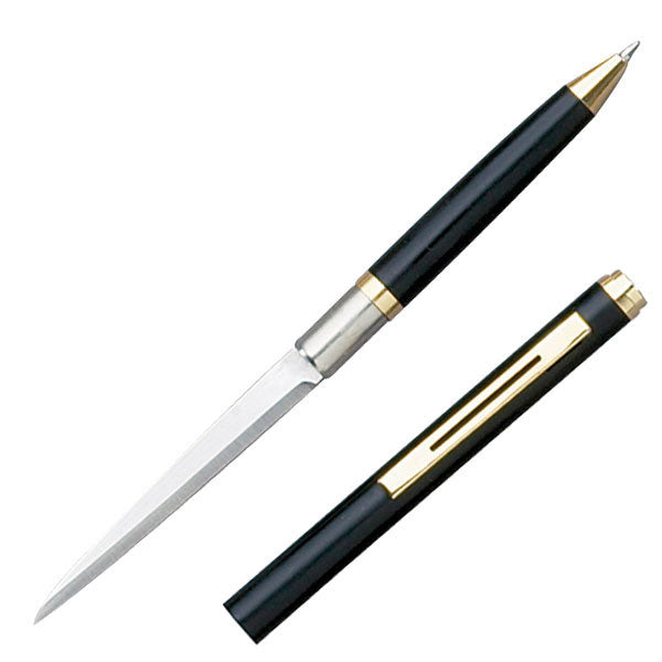 Elegant Ink Pen Knife with Plain Edge Black