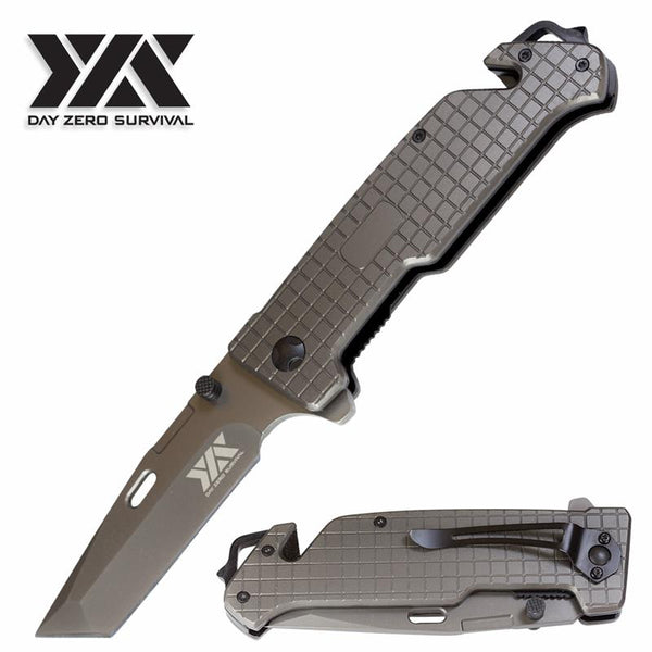 Heavy Duty Gunmetal Tactical Combat DZS Spring Assist Rescue Pocket Knife