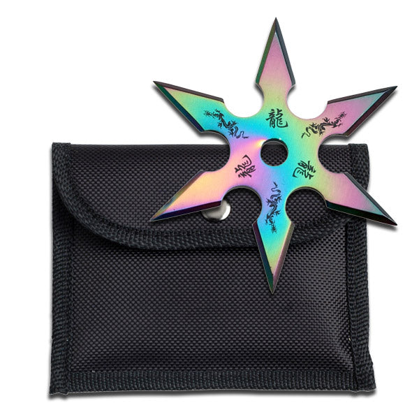 "Rainbow Stainless Steel 6 Point ""Dragon"" Throwing Star W/ Pouch - 4MM Thick"