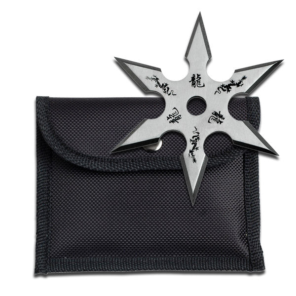 4mm Thick Silver Throwing Star Six-Point Chinese Dragon Symbol Ninja Knife