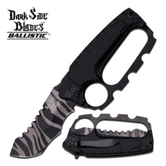 Dark Side Blades 5.25 Inches Black Knuckle Handle Spring Assisted Knife