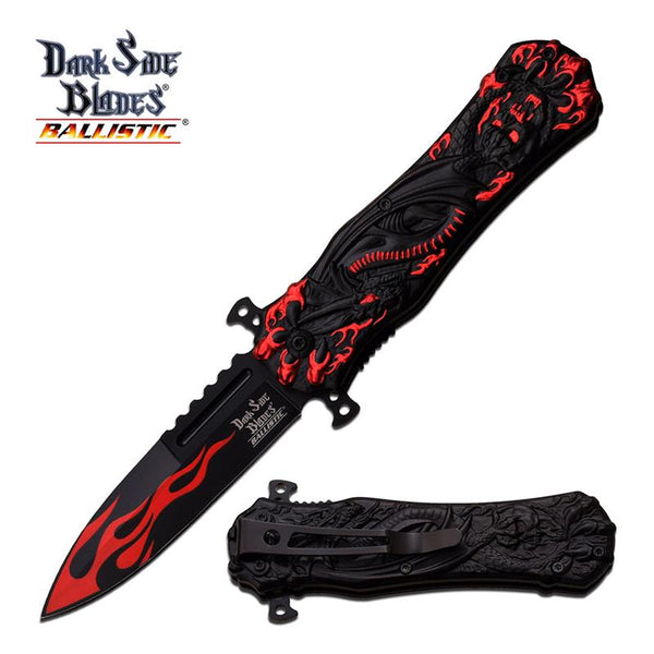 Black Red Hell Dragon Tactical Stiletto Blade Spring Assist Pocket Knife