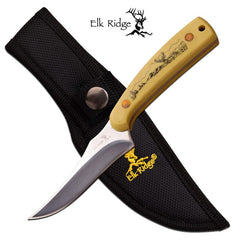 "Elk Ridge Full Tang 7"" Skinner Hunting Knife Scrimshaw Deer Handle"