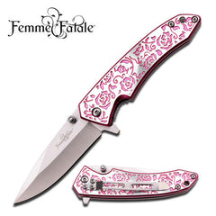 Pink Rose Texture Handle Spring Assisted Opening Knife