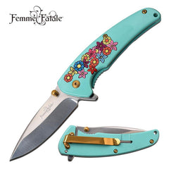 Mirror Polish Blade Blue Flower Spring Assisted Folding Knife
