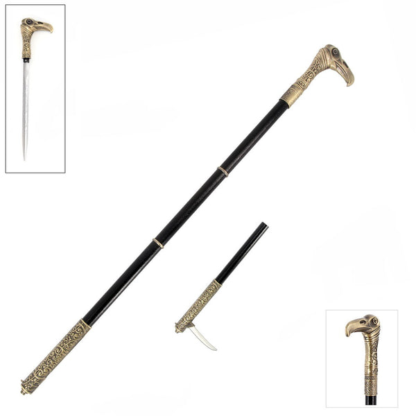 Dual Bladed Vulture Head Sword Cane