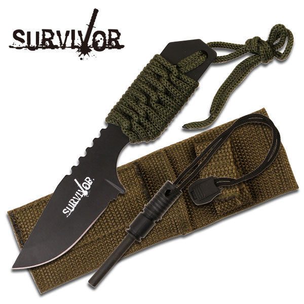 "7"" Green Cord Wrapped Full Tang Mini Survival Knife With Fire Starter"