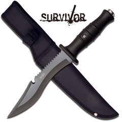 "12"" Rubber Grip Survival Military Fix Blade Knife"