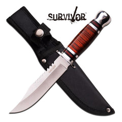 "Survivor Fixed Blade Outdoorsman Knife 6"" Blade With Wood Handle"