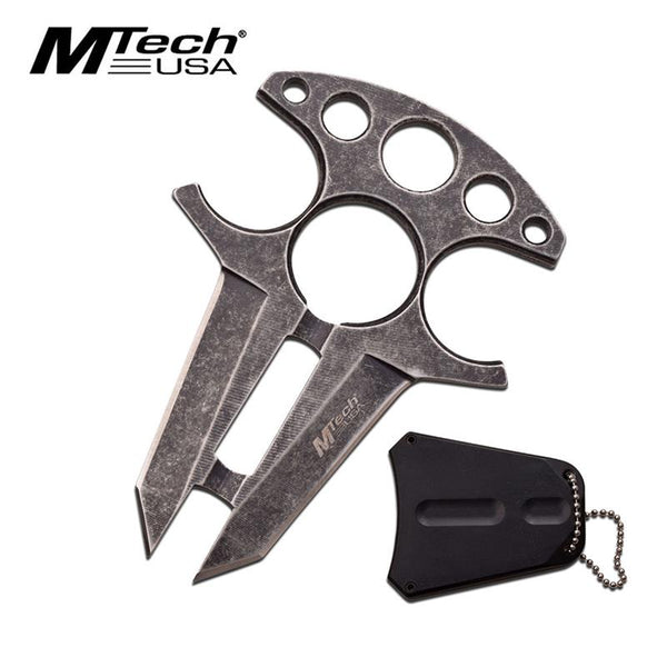 Tactical Double Edge Neck Knife Stone Washed Handle with Finger Ring Holes