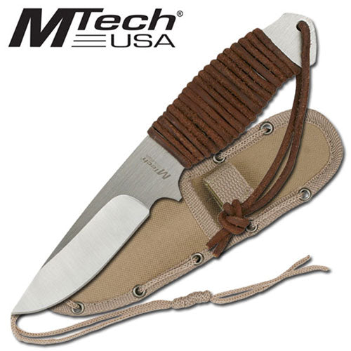 7.75 Inch Leather Wrap Stainless Desert Survival Knife