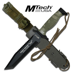 First Recon Black Tanto Blade Camo Handle Tactical Combat Knife 12""