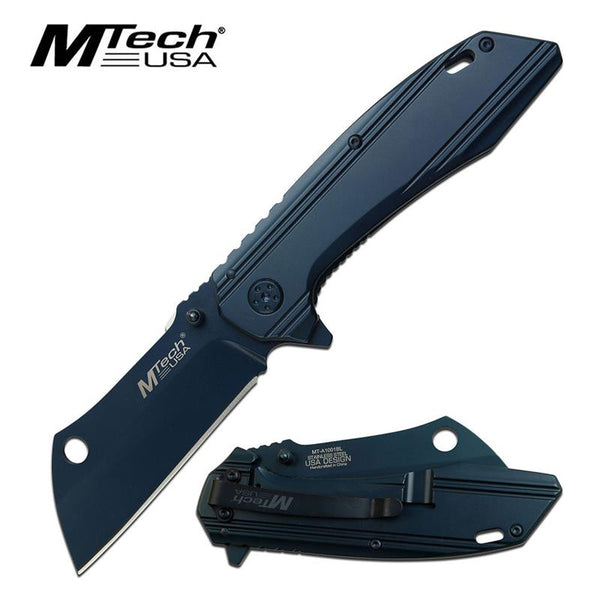 Mtech Blue Titanium Coated Cleaver Blade Spring Assisted Folding Knife
