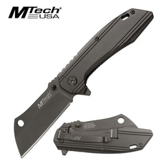 Mtech Gunmetal Gray Cleaver Blade Spring Assisted Tactical Folding Knife