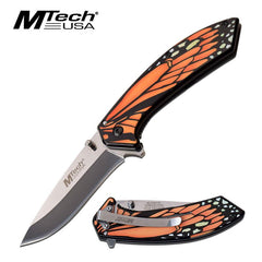 Mtech Orange Monarch Butterfly Wing Spring Assisted Folding Knife