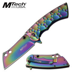 Rainbow Steel Bone Crusher Cleaver Blade Assisted Opening Pocket Knife