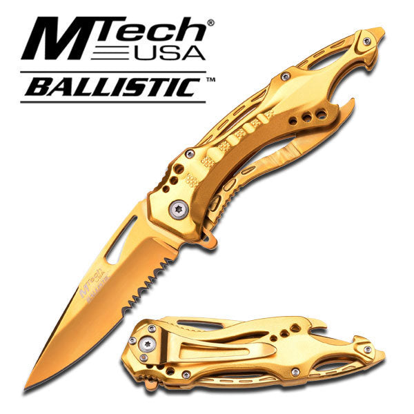 MTech USA Spring Assisted Gold Pocket Screwdriver Can Opener Knife