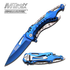 MTech USA Spring Assisted Blue Pocket Screwdriver Can Opener Knife