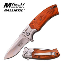 Mtech Brown Wood Silver Plain Blade Spring Assisted Knife EDC