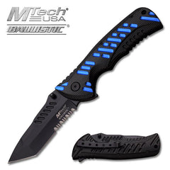 4.75 Inch Closed Blue Handle Spring Assisted Opening Knife