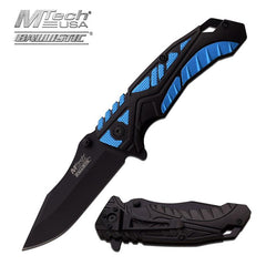 4.7 Inch Mtech Black Blue Spring Action Spring Assisted Knife