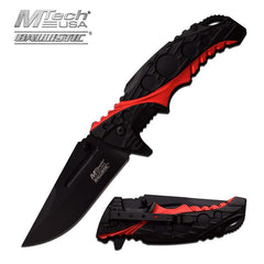 Black Red 2 Tone Handle Spring Assisted Opening Knife