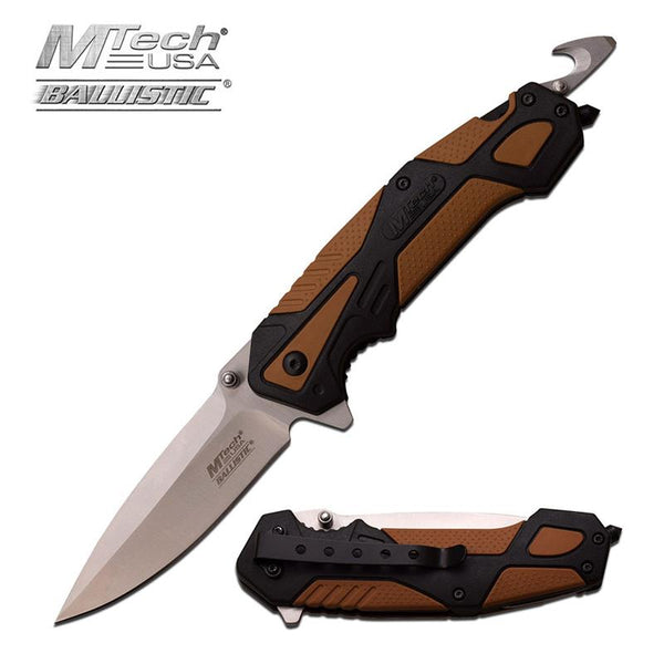 Edc Spring Assisted Knife With Black & Brown Handle