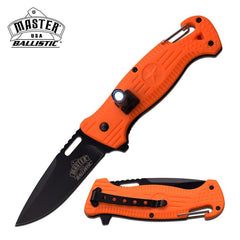 Ballistic LED Light Orange Tactical Rescue Assisted Opening Pocket Knife