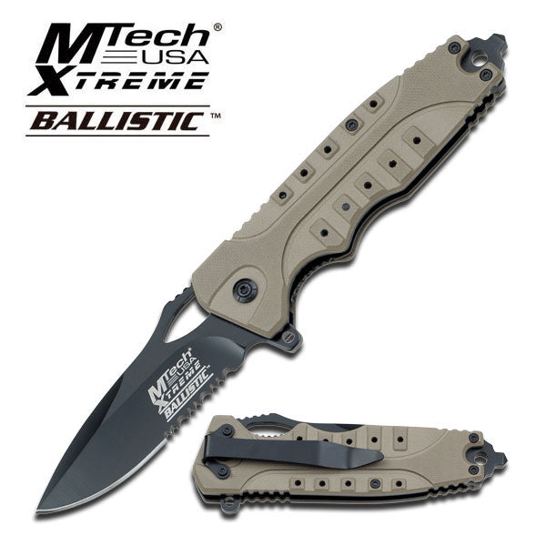 Tactical Assisted Opening Knife With Tan G10 Handle