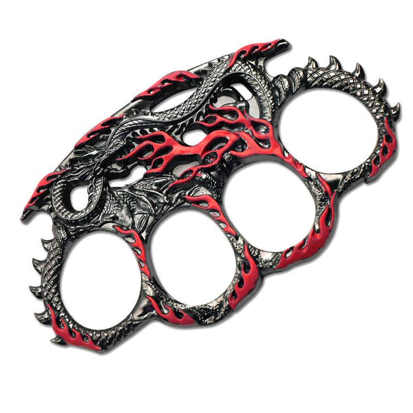 Red Fire Breathing Dragon Paperweight Knuckle Self Defense