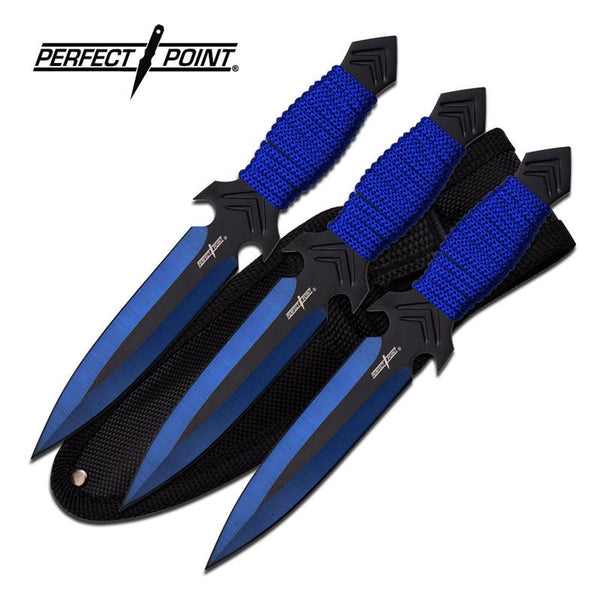 "3 Pcs Blue 6.5"" Beginner Throwing Knife Set With Sheath"