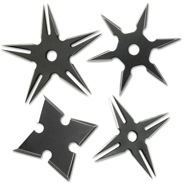 Four Pack Ninja Throwing Star Set Black Manga Shuriken Knife
