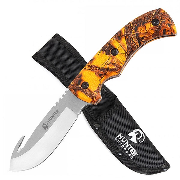 "9"" Hunting Survival Skinning Gut Hook Fixed Blade Knife Fall Camo"