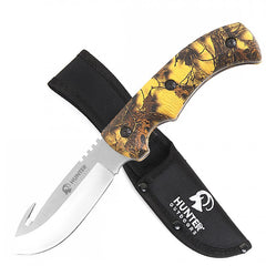 "9"" Hunting Survival Skinning Gut Hook Fixed Blade Knife Camo Handle"