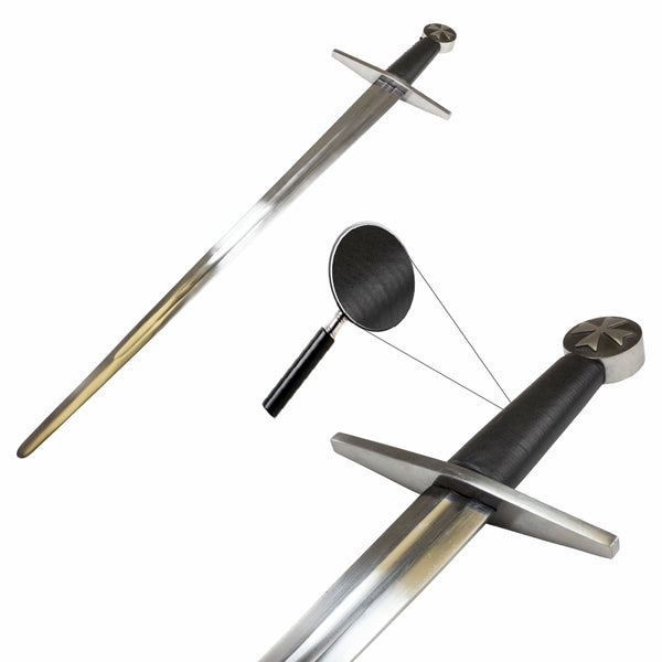 Crusader Sword With Scabbard and Belt Full Functional Battle Ready Tempered Steel