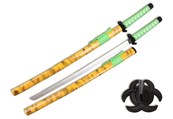 Zombie Wooden Samurai Katana Sword with Scabbard Cosplay Weapon