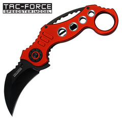 Tac Force Tactical Folding Knife 5.25 Inch Closed Karambit Red Handle