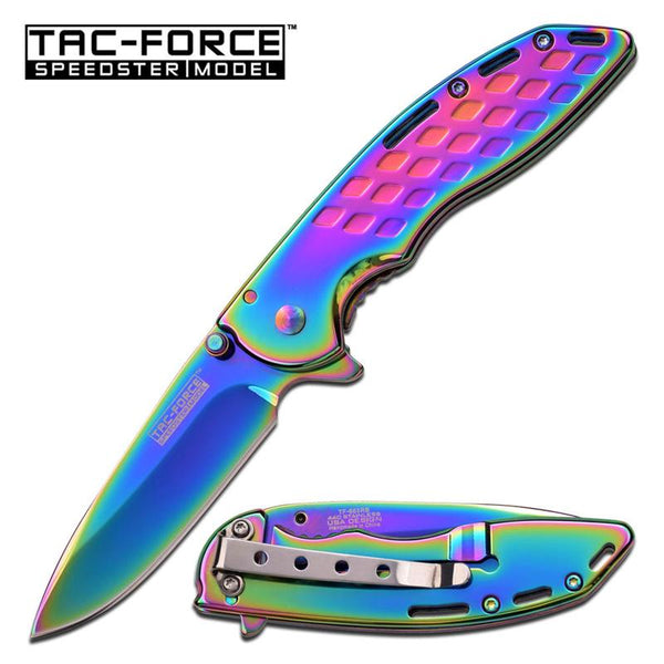 Speedster Model Action Spring Assist Knife Rainbow Titanium