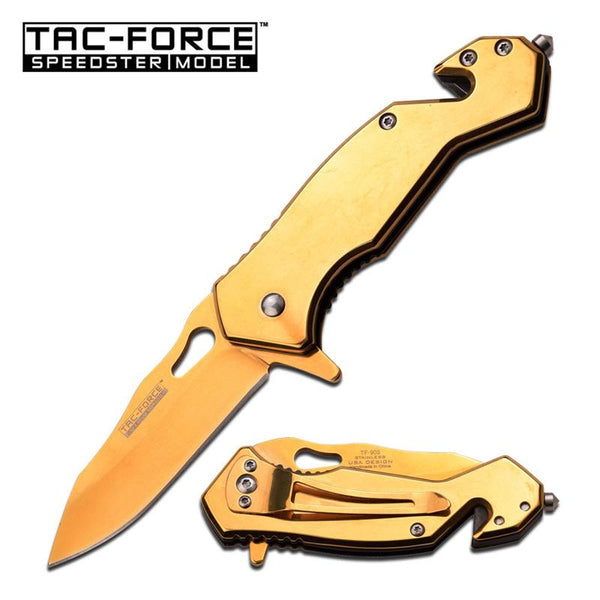3.75 Inch Closed Full Gold Tactical Rescue Spring Assisted Knife