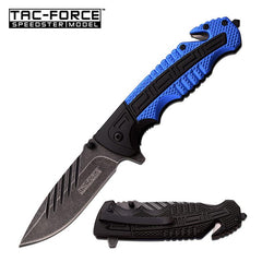 Tac Force Tactical Rescue Spring Assisted Knife Black Blue Handle