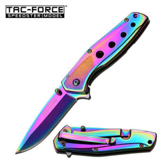 "Tac Force 4"" Rainbow Tactical Spring Assist Open Gentlemen Pocket Knife"